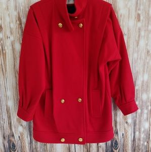 EUC Vntg red wool jacket thigh length size 9/10